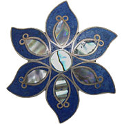 Beautiful Vintage Taxco Mexican Sterling Silver Flower Pendant Brooch With Inlaid Stone & Abalone Shell - Signed ARH