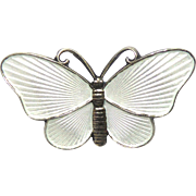 Vintage Norway Sterling Silver White Enamel Butterfly Pin by Ivar T Holth