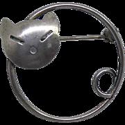 Adorable Modernist Cat Brooch in Sterling Silver Signed Beau Sterling