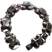 Lovely Vintage Sterling Silver & Abalone Shell Mexican Bracelet Signed CBR
