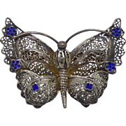 Vintage 835 Silver Filigree Cannetille Butterfly With Blue Enamel - Signed