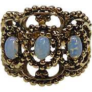 3 Stone Signed Vargas Ring In A Filigree Setting - Faux Opals in  18K Gold HGE Setting