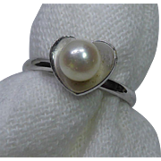 Real Pearl In A Heart Shaped Setting - Vintage Ring - Adjustable Size