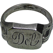 Art Deco Sterling Silver Signet Ring by R.L. Griffith - Engraved Del