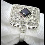 Gorgeous Large Size 10 Sterling Silver Ring Signed Jenna Nicole - Swarovski Crystals & Black Stone Center