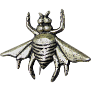Early Vintage Mexico Silver Insect Pin - Figural Bee or Fly in Sterling Silver