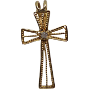 Beautiful Filgree 14K Gold & Diamond Cross Pendant