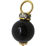Beautiful 14K Gold Black Round Pendant or Charm With Collar Of CZs