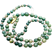 Polished Green Quartz Beads with Clasp Marked SILVER Vintage Necklace