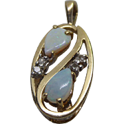 Beautiful Estate Found 14K Gold Opal Pendant With Diamond Accents