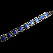 Scandinavian Goldwashed Sterling Silver & Blue Enamel Bracelet - Signed Joined JA 925S
