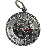 Sterling Silver You Are An Angel Pendant or Charm Signed Elco