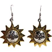 Adorable Sterling Silver Sun Earrings - Marked MC925