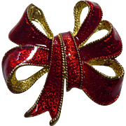 Bright Red Enamel Christmas Bow Brooch Signed TC
