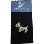 Swarovski Crystal Scottie Dog Lapel Pin On Original Card
