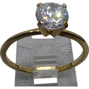 Beautiful 14K Gold Solitaire Faux Diamond Ring - Size 8