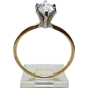 14K Gold Ring - High Two Tone Setting With Faux Marquise Cut Diamond - Size 8