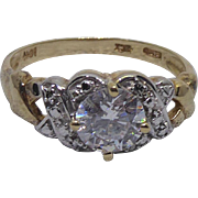Beautiful 10K Gold Ring With CZs - Size 9