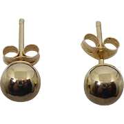 14K Gold Round Ball Earrings - Signed H In An Oval