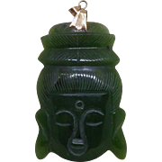 Large Green Stone Carved Buddha Face Pendant With 14K Gold Findings