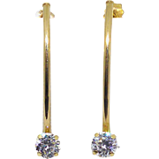 Beautiful 14K Gold CZ Long Earrings - For Pierced Ears
