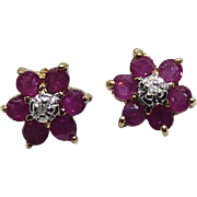 Pretty 10K Gold Flower Earrings With Rubies and Diamonds
