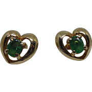 Vintage 14K Gold & Emerald Earrings - Heart Shaped