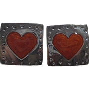 Sterling Silver & Enamel Square Earrings With Red Orange Hearts - Marked 925