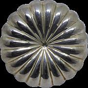 Italian Sterling Silver Brooch - Scalloped Flower Signed SU Italy 925