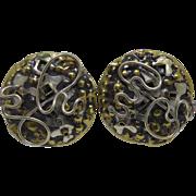Designer Signed MA Katke Sculptural Mixed Metal Earrings