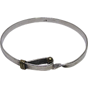 Sterling Silver Cuff Bracelet With Brass Accents Near The Clasp