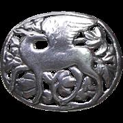 Sterling Silver Unsigned Winged Deer Brooch - Beautiful Brooch!