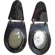 Long Sterling Silver Native American Earrings With Oval Mother Of Pearl Shell