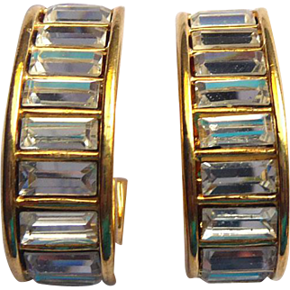 Signed Napier Crystal Rhinestone Earrings - For Holiday Flash & Sparkle!