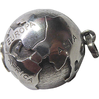 Vintage Dutch Globe 3D Charm 835 Silver ZII A835 - Dimensional with Raised Continents