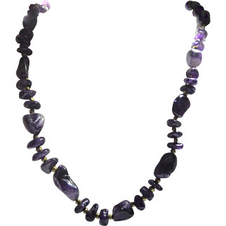 Beautiful Vintage Amethyst Chunky Bead Necklace - Vintage Purple Necklace Weighs 74.8 Grams