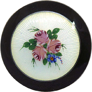 Signed Thorleif Johnsen Norway Sterling Silver & Enamel Black & White Brooch With Roses
