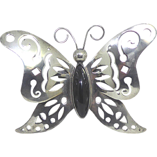 Big Bold Vintage Mexico Silver Butterfly Brooch With Black Center Stone and Cut Out Wings
