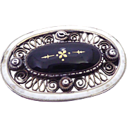 Signed Marius Hammer Sterling Silver & Enamel Black & White Filigree Brooch 930S