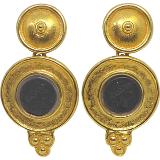 Vintage 21K Gold Plated Etruscan Look Earrings With Faux Roman Coins Signed Jaded