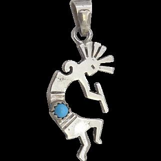 Vintage Sterling Silver & Turquoise Kokopelli Pendant - Native American Fertility God