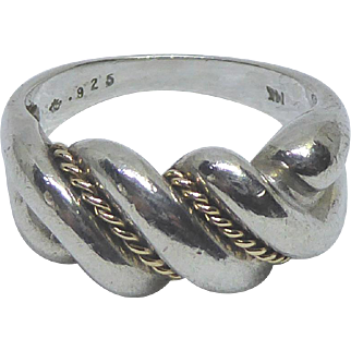 Sterling Silver & 14K Gold Rope Band Ring Signed D In A Crown