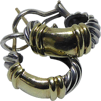 Signed David Yurman Two Tone Sterling Silver & 14K Gold Earrings - 925 585 Lever Back Pierced Earrings