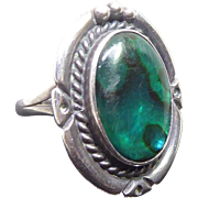 Striking Native American Navajo Ring - Signed Nakai - Sterling Silver With Blue Green Stone
