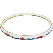 Gorgeous Vintage Cloisonne Bangle Bracelet - Cream Colored Background with Blue, White & Red Enamel Floral Design
