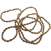 """Vintage Gold Plated Twisted Necklace - Shiny Sparkly Cut - 40"""" Long"""