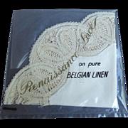 Vintage Belgium Linen Handkerchief With Renaissance Lace Trim - Bridal or Personal Use