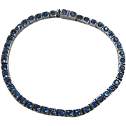 Antique Sterling Silver Line Bracelet With Pretty Blue Crystal Stones - J.C. Wacha Pat 9/14/1915