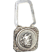 Vintage Mexican Sterling Signed MONROY Keychain With Eagle Warrior or Cuāuhtli