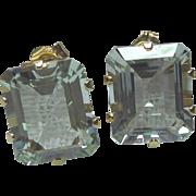 14K Gold & Aquamarine Earrings For Pierced Ears - 12mm x 10mm Stones